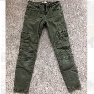 Pacsun Army Green Cropped Skinny Jeans
